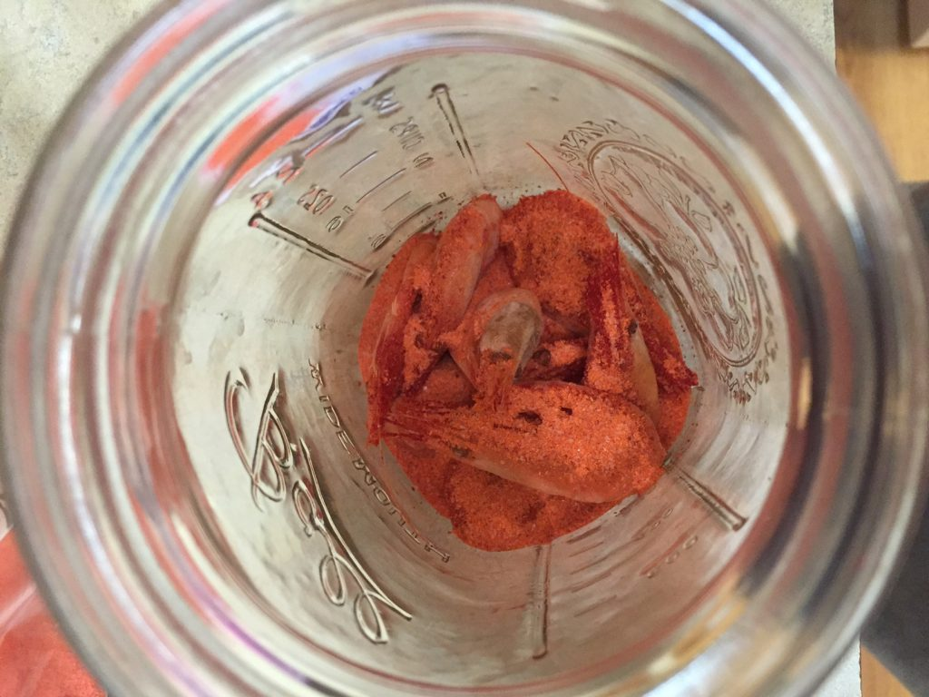Second Layer of Cure over Prawns in jar | Willamette Valley Outfitters