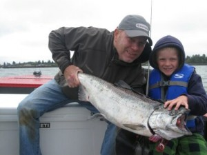 Father and Son Showing off their Beautiful Salmon | Buoy 10 Fishing Guide